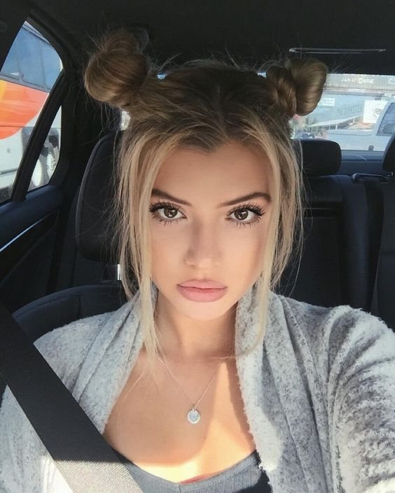two top knots with side bangs
