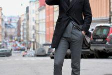 05 a grey suit, a black coat, a scarf