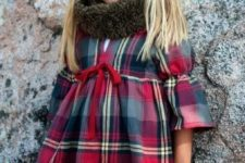 05 a plaid dress and a fur cowl