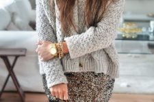 05 a sequin mini and a grey sweater with accessories