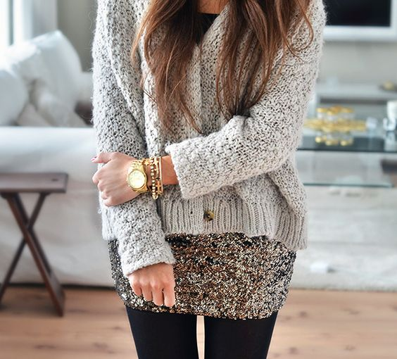 a sequin mini and a grey sweater with accessories