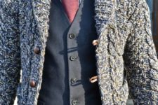 05 a suit with a warm cardigan over will keep you warm