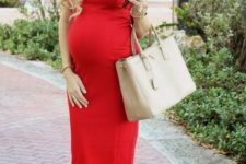 05 sheath red dress, nude pumps and pearls