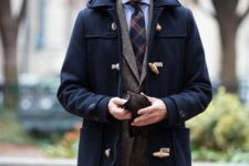 06 a navy duffle coat, a grey tweed suit and a striped tie