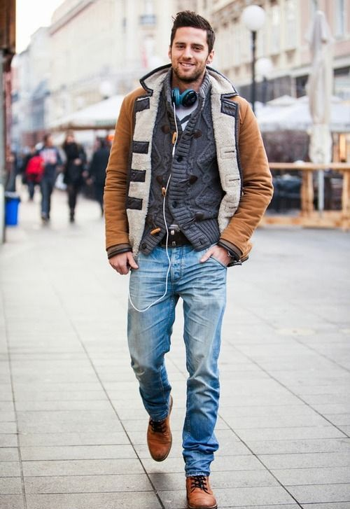 bleached denim, a warm grey cardigan, a shealing coat and ocher boots