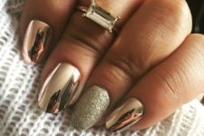 06 copper metallic nails with a silver glitter accent nail