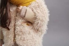06 knit leggings and oversized sweater, a yellow scarf