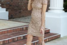 06 sheath gold sequin dress, nude heels are amazing for celebrating New Year