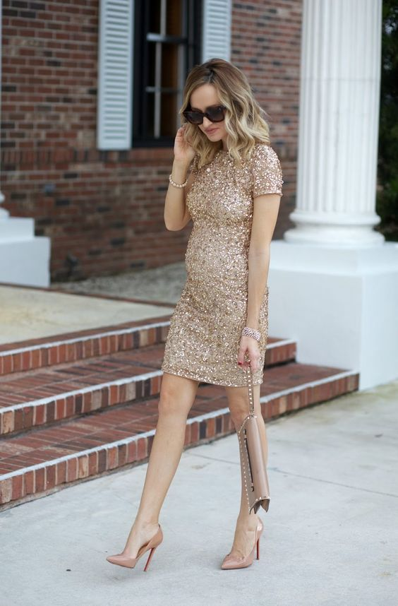 sheath gold sequin dress, nude heels are amazing for celebrating New Year