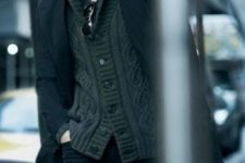 07 a tee, a cardigan and a black coat for stylish layering