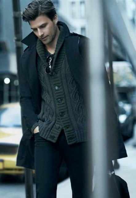 a tee, a cardigan and a black coat for stylish layering