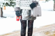 07 black and white sweater, a silver sequin mini and black suede boots
