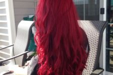 08 bright red long wavy hairstyle