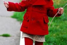 08 lady in red – a red coat, red tights, shoes and a neutral dress