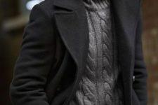 08 purple pants, a grey cable knit sweater, a black coat