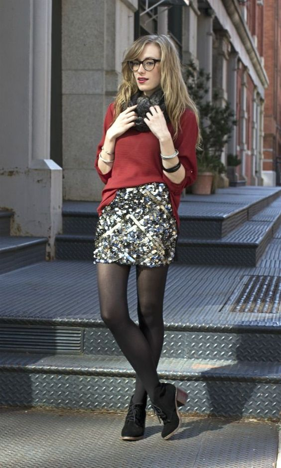a sparkling mini, a red sweater, a fur shawl and black suede boots