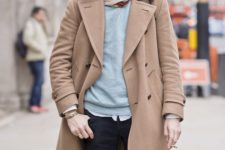 10 a shirt, a grey sweater, a scarf and a camel coat