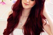 10 long wavy bright red hair