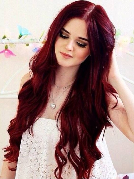 long wavy bright red hair