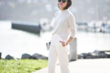 10 pants, a white sweater and nude heels if it's not too cold outside
