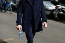 11 a smart casual look with a navy coat and pants, black shoes