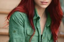 11 long red locks look stunning with green eyes