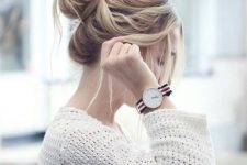 11 messy top knot with side bangs