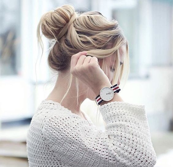 messy top knot with side bangs