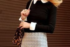 12 a tweed mini skirt, a button down shirt and a black jersey