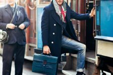 12 denim, a navy coat and a bold scarf