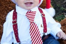 12 jeans, a shirt, a tie, suspenders and a red Santa hat