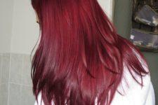 12 red straight hair with a textural haircut