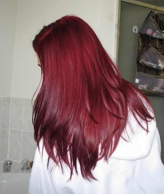 red straight hair with a textural haircut