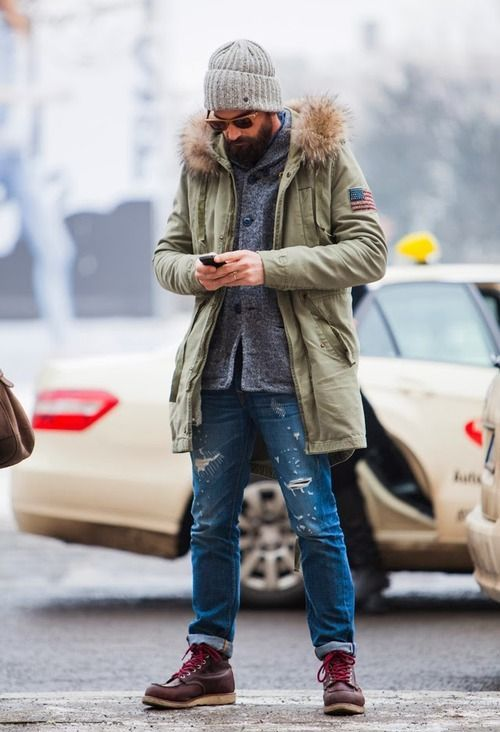 ripped denim, a grey cardigan, a long parka and a beanie