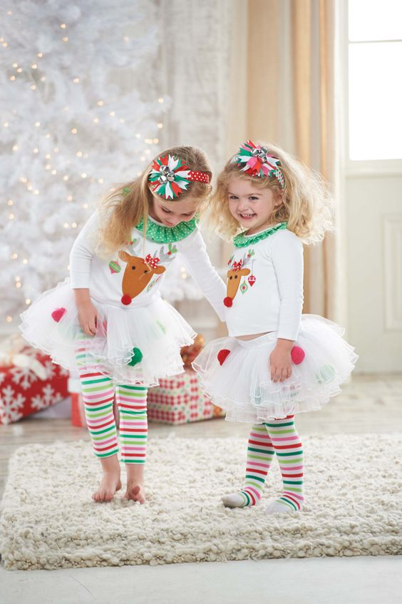 striped leggings, tutu skirts, shirts with deer and bold headbands