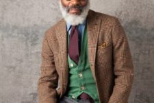 13 a bold look for a creative job – a tweed jacket, a green vest and grey pants