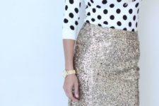 13 a gold midi skirt with a polka dot sweater