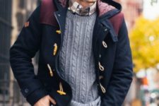 13 a plaid shirt, a cable knit sweater and a hood coat