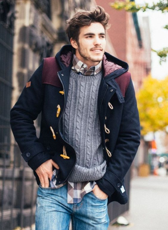a plaid shirt, a cable knit sweater and a hood coat