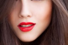 13 bold red lips and subtle cat eye
