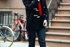 13 dark denim, a red scarf and a black duffle coat