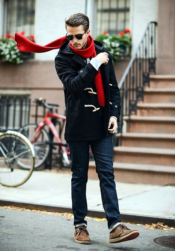 dark denim, a red scarf and a black duffle coat