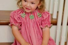 13 red and white gingham dress with embroidered green ornaments