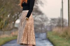 14 a gold sequin midi, a black turtleneck sweater and heels