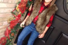 14 a plaid shirt, cuffed jeans, glitter flats and a faux fur vest