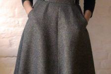 14 high waist A-line skirt, a black jersey