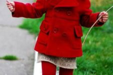 14 red tights and shoes, a red coat and a lace dress