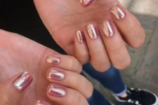 14 rose gold chrome nails look awesome