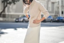 15 an ivory skirt, a nude chunky knit sweater and heels