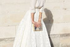 15 an ivory sweater and a white lace skirt for a refined and girlish look